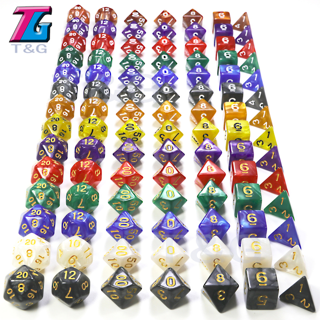 DnD 7Pcs/Set  T&G Polyhedral  RPG Games Dice with Marble Effect  D4-D20 Multi Sides for Board Game Ludo