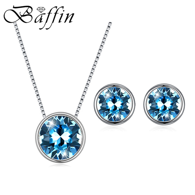 Classic Silver Color Round Jewelry Sets Crystals From Swarovski-Elements Pendant Necklace Stud Earrings For Women Gifts 2020