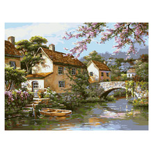 Painting By Numbers Diy South Town Landscape Room Wall Art Oil Paint For Adults Kits Drawing On Canvas Home Decoration 40×50cm
