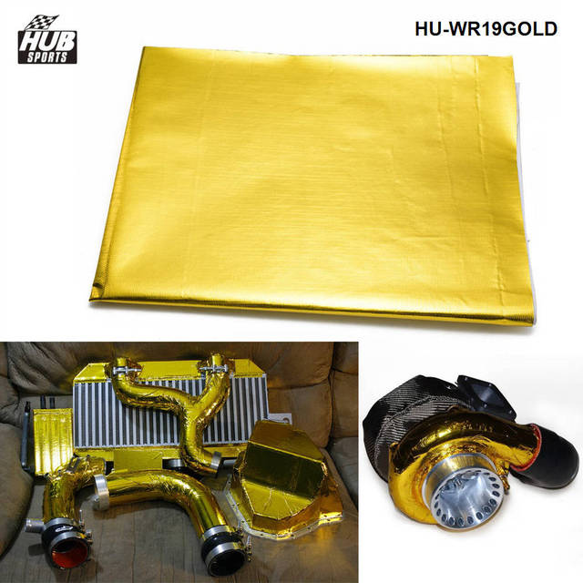 """39"""" x 47"""" SELF ADHESIVE REFLECT A GOLD HEAT WRAP BARRIER FOR THERMAL RACING ENGINE  EXHAUST For Toyota HU-WR19GOLD"""