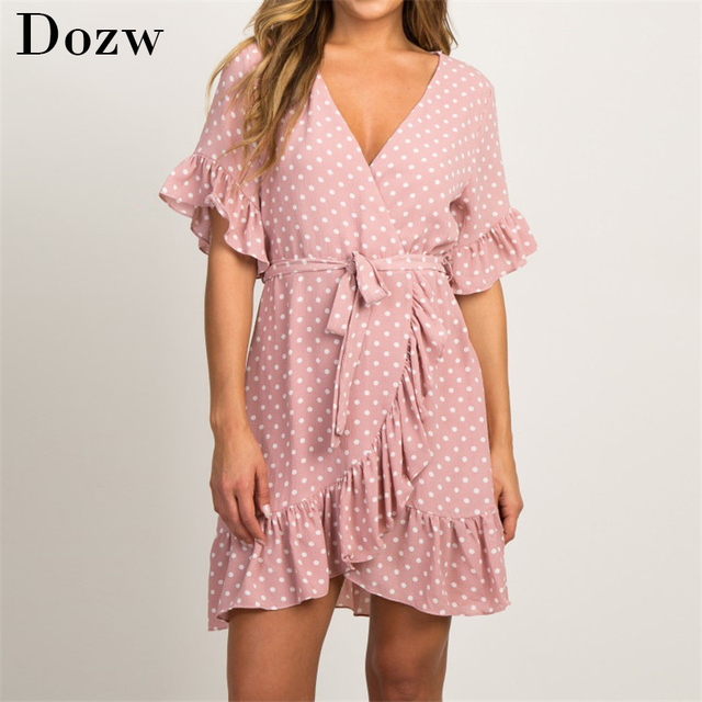 Summer Chiffon Dress 2020 Boho Style Beach Dress Fashion Short Sleeve V-neck Polka Dot A-line Party Dress Sundress Vestidos