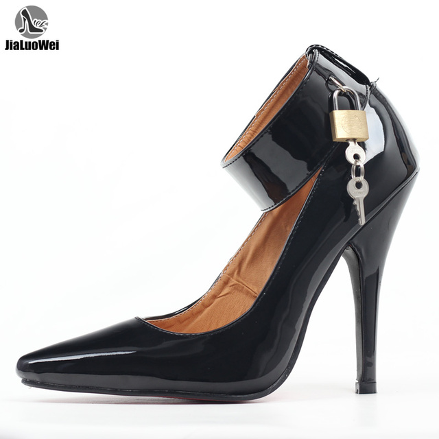 """jialuowei BDSM Sexy Fetish High-Heel Pumps Lock And Key 5"""" High Heels Pointed Toe Ankle Strap Padlocks Shoes Plus size 36-46"""