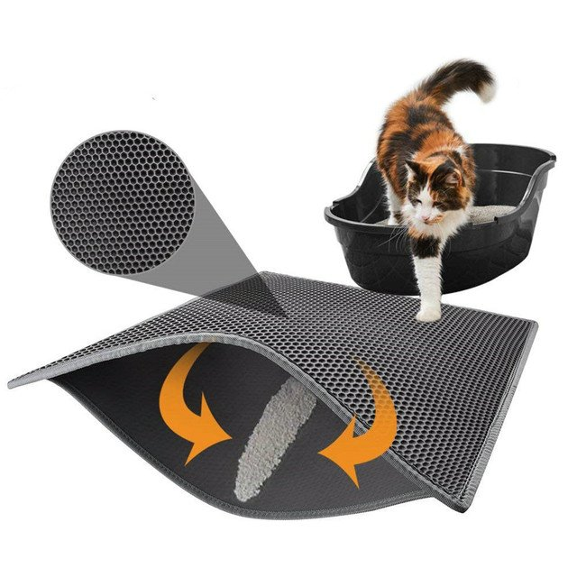 Cat Litter Box Mat Litter Trapper of Double-Layer Design Waterproof Urine Proof Material Easy Clean and Floor Carpet Protection