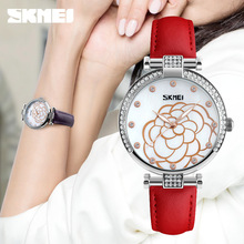 SKMEI Quartz Womens Watches Leather Strap Ladies Wristwatches Fashion Waterproof Watch Women Casual Relogio Feminino 9145