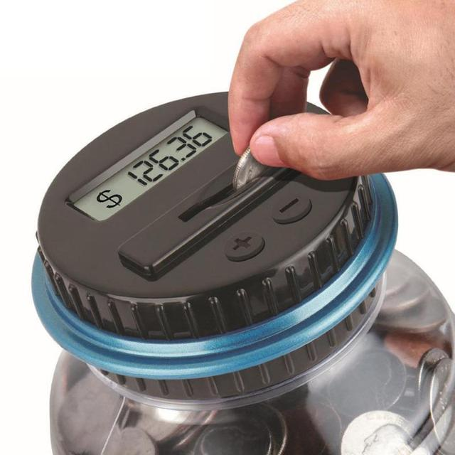 Electronic Digital LCD Counting Coin Money Saving Box Piggy Bank Counter Coin Jar Coins Storage Box For USD EURO GBP Money