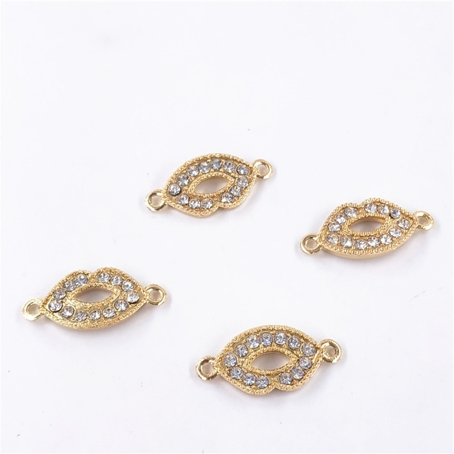 6pcs/lot Gold Color Crystal Lips Connectors For Making Bracelet Jewelry Findings Accessories 25*12mm