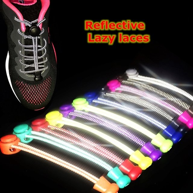 1 Pair Reflective Shoelaces Elastic No Tie Shoe laces Round Stretching Locking Shoelace Leisure Sneakers Quick Lazy laces