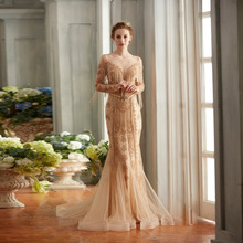 Tassel Celebrity Dresses Gold Embroidery Long Sleeves Crystals Sweep Train Party Evening Gowns Crystals Stuning Robe
