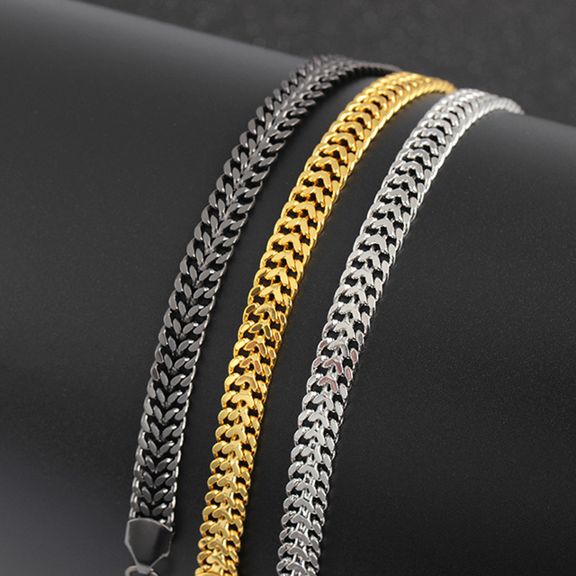 7mm Gold/Black/Silver Stainless Steel Curb Cuban Link Chain Bracelets Party Jewelry Gift Christmas Bracelets For Men Women