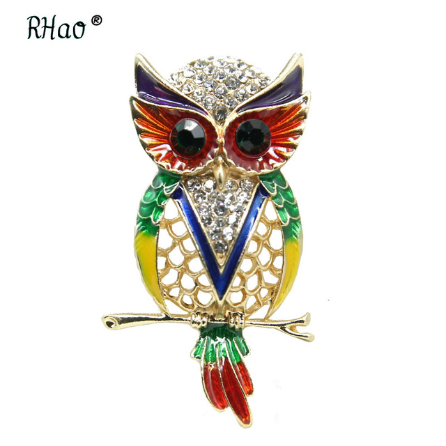 RHao Hot Sale Multi Enamel Owl Brooch pins New Colorful Rhinestone Owl Brooches for Women Clothes Jewelry buckles hijab pins