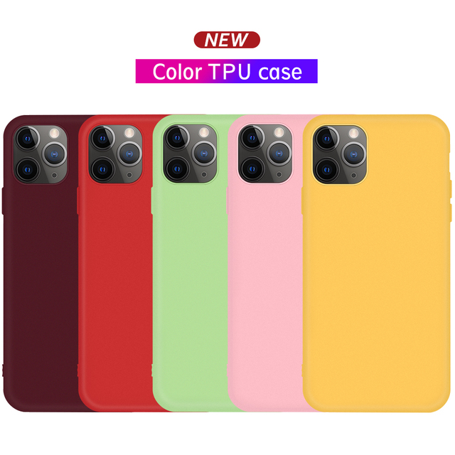 Candy Silicone Phone Shell For iPhone 11 Case For iPhone XS 11 Pro Max X XR 6 6S 8 7 Plus Case TPU Coque Cute Simple Capa Fundas
