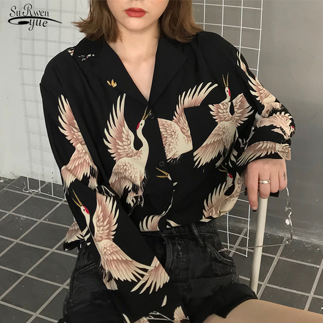 New Blusas Mujer New Spring Clothes Women 2021 Long Sleeve Plus Size Printed Blouse Women OL Vintage Cardigan Shirt Female 0845