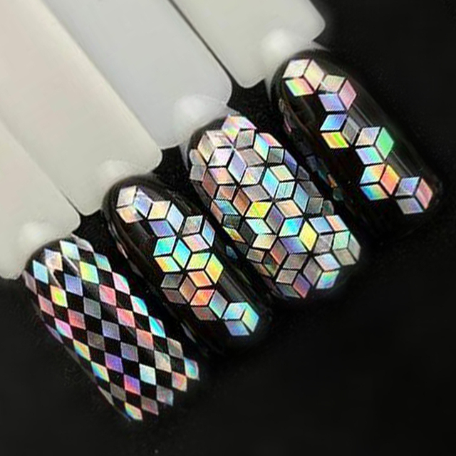 1 Bottle Laser Silver Nail Glitter Sequins Dust Mixed Rhombus Shape Tips DIY Charm Polish Flakes Decorations Manicure SALS01-16