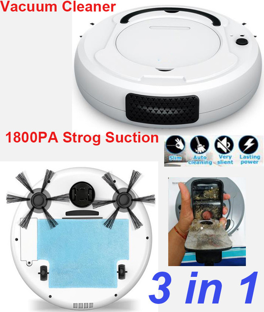 3-In-1 Auto USB Rechargeable Sweeping Cleaner 1800Pa Multifunction Smart Robot Vacuum Cleaner Dry Wet Vacuum Floor Cleaner