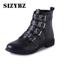 Winter warm Ankle Boots Sexy Buckles Low Heeled Women Boots Black Studded Leather Zapatos Mujer Zipper Ladies Shoes Plus Size 43