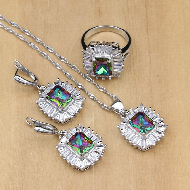 925 Sterling Silver Jewelry Mystic Rainbow Fire Zircon Jewelry Set Women Wedding Accessories Earrings/Rings/Necklace Sets