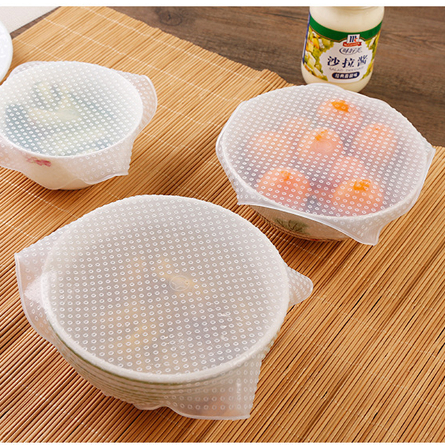 1PC Square Silicone Food Wraps Seal Microwave Oven Special Heating Cover Stretch Food Fresh Keeping Pads Wrap Kitchen Tools