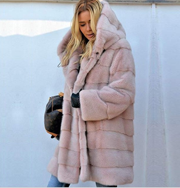 Winter Fashion Faux fur coat Women Loose Warm Hooded Fur jacket Long Coats Womens Fluffy Soft Casual Fur Coat Thick Overcoat