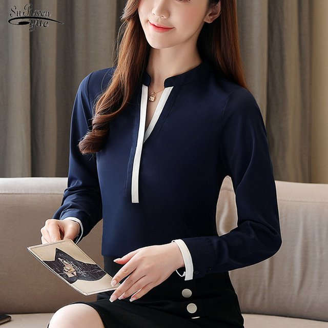 2021 Spring Ladies Tops Long Sleeve Solid Women Blouse OL Pullover V Neck Shirts Women Female Clothing Blusas Mujer 8393 50