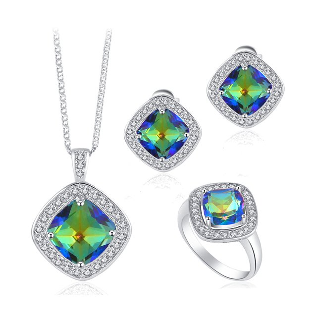 ROLILASON Mysterious Mystic Zircon Trendy Square Fashion Jewelry silver color Stamped Jewelry Sets Earrings Necklace Rings JS668