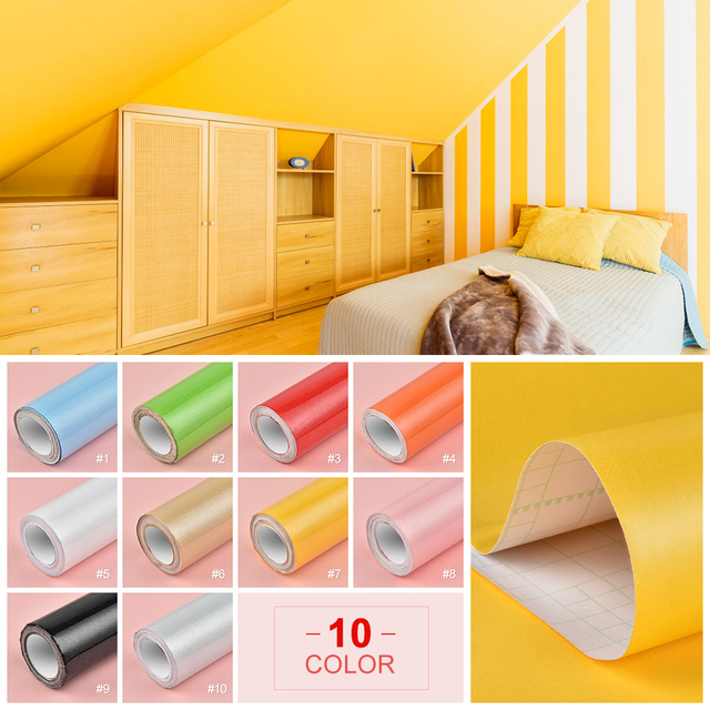 3M/5M Paint Waterproof Vinyl Decorative Film Self Adhesive Wallpaper Roll for Kitchen Furniture Stickers PVC Home Decor 10Colors
