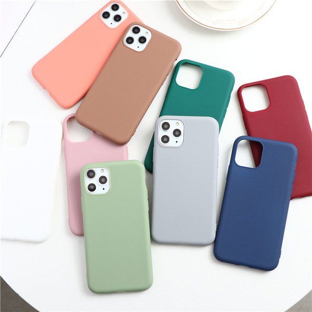 Simple Plain Candy Color Silicone TPU Matte Phone Case For iPhone 12 11 Pro Max X XR XS Max X 8 7 6 6S Plus SE 2 2020 Back Cover