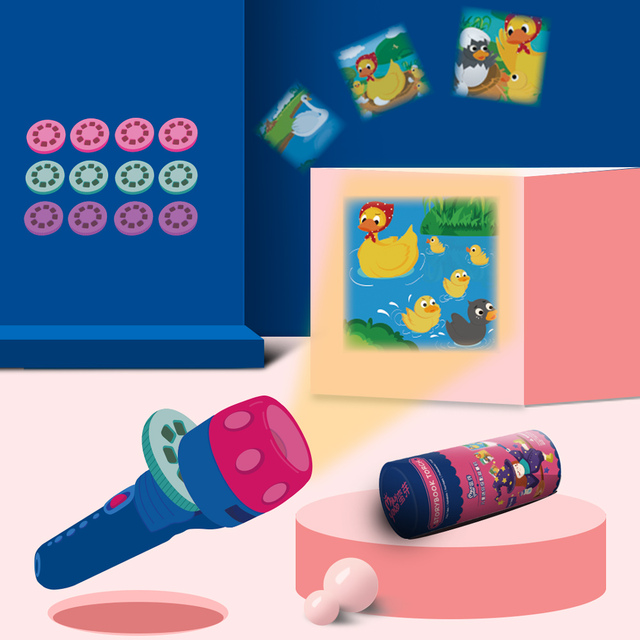 kids sleeping story flashlight projection lamp Projector Slide toy children's mini story light baby education adjustable focal