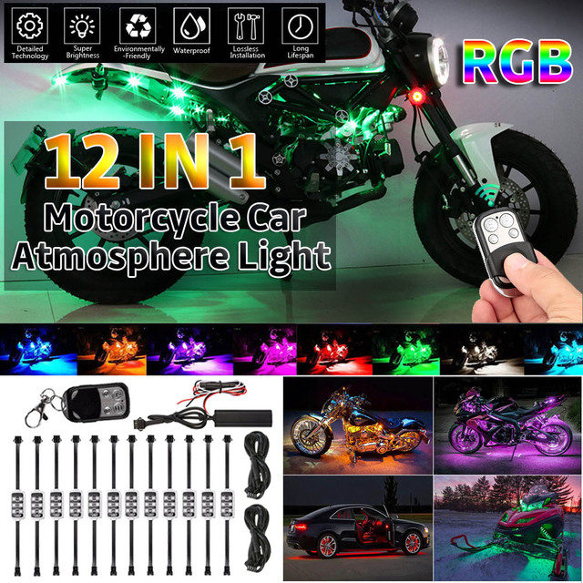 12IN1 RGB 72 LED Smart Brake Lights Motorcycle Car Atmosphere Light with Wireless Remote Control Moto Decorative Strip Lamp Kit