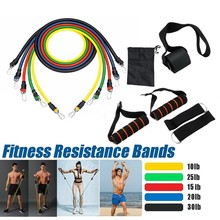11pcs/set Pull Rope Fitness Exercises Resistance Bands Latex Tubes Pedal Excerciser Body Training Workout Yoga Elastic Pul #V