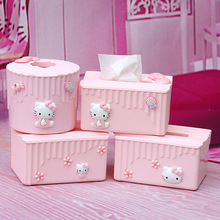 Cartoon Tissue Box Desktop Office Kitchen Roll Paper Holder KT Cat Paper Towel Dispenser Toilet Paper Case Organizer