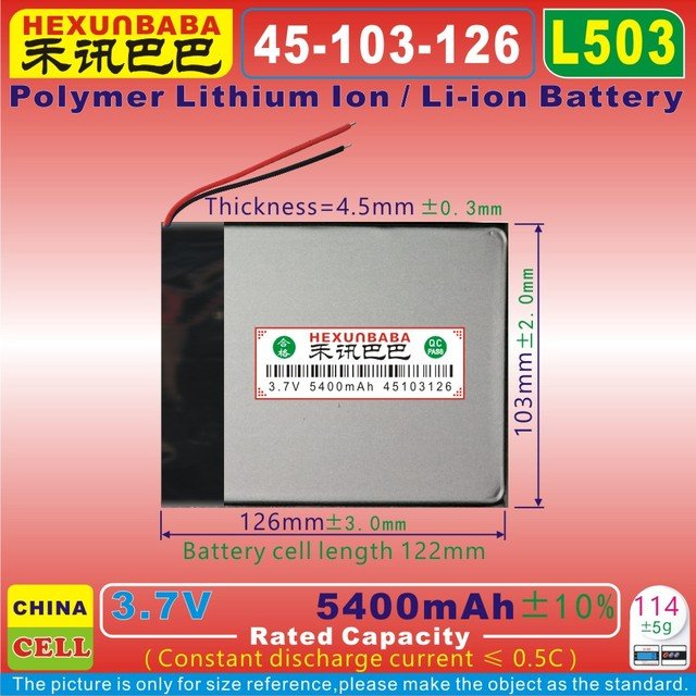 [L503] 3.7V 5400mAh [45103126] Polymer lithium ion / Li-ion battery for tablet pc,POWER BANK,cell phone;GPS