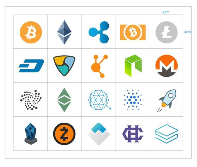 200sets/lot  20 types of cryptocurrency logo Self-adhesive paper label sticker, Item No.FS16