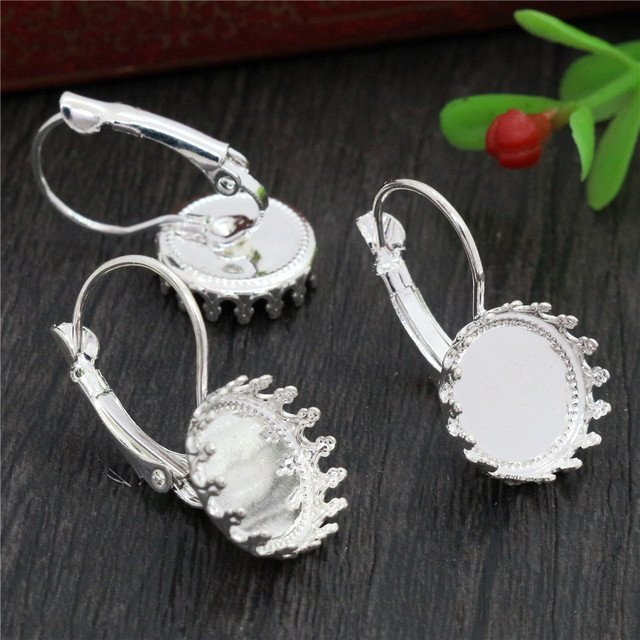 12mm 10pcs Light Silver Plated French Lever Back Earrings Blank/Base,Fit 12mm Glass Cabochons,Buttons;Earring Bezels
