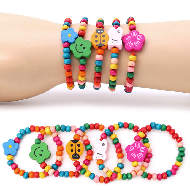5Pcs Lovely Kids Children Wood Elastic Bead Bracelets Birthday Party Jewelry Gift