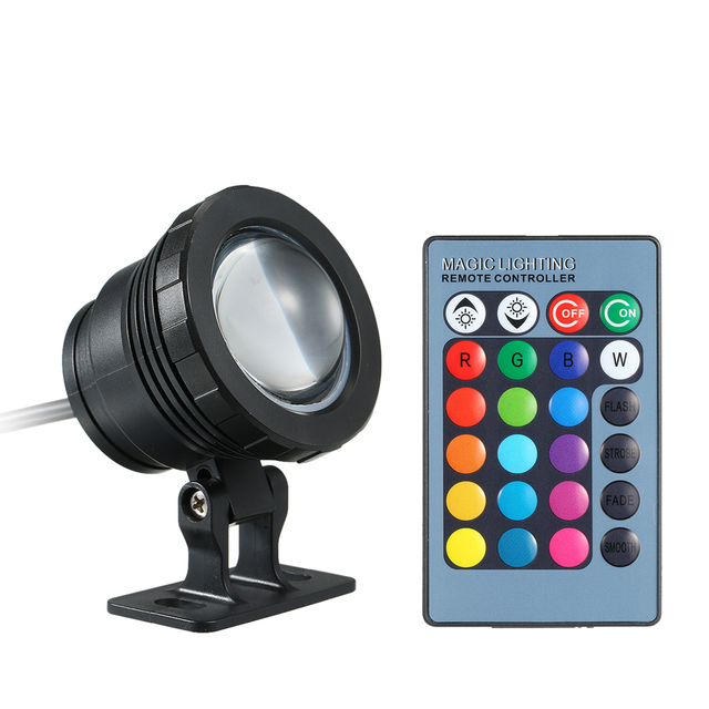 AC/DC 12V 10W RGB LED Underwater Light Submersible Lamp with Remote Control Lighting Effects IP65 Waterproof for Pool Aquarium