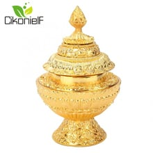 3 Layer Gold Altar Food Box Storage Box 8 Auspicious Ritual Meditation Tibet Buddhist Tantra Supplies