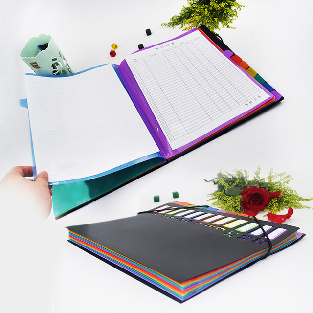 A6 File Folder A6 Document Folder A6 Document Bag 12 Grids Rainbow Color Manager Stationery Office Supplies Multifunctional