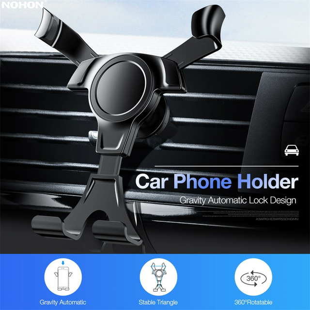 Nohon Gravity Car Holder For iPhone 11 Pro Max X XS Max 8 7 6 Plus Car Air Vent Clip Mount No Magnetic Mobile Phone Holder Stand
