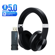 Aptx Low Latency Bluetooth Headphone + USB Audio Transmitter for TV PS4 Laptop Wireless Earphones Over ear Stereo Gaming Headset