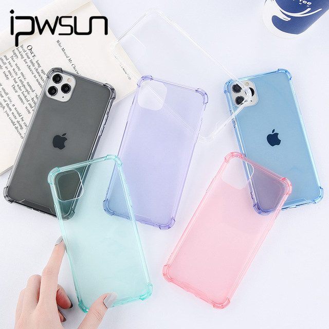 iPWSOO Solid Color Transparent Phone Case For iPhone 11 Pro Max X XS XR Xs Max Shockproof Cases Cover For iPhone 6 6s 7 8 Plus