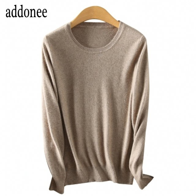 High Quality Spring Autumn Winter Female Women's Knitted Solid Color Basic Sweater Cashmere Slim O-Neck Plus Size Pullover Loose