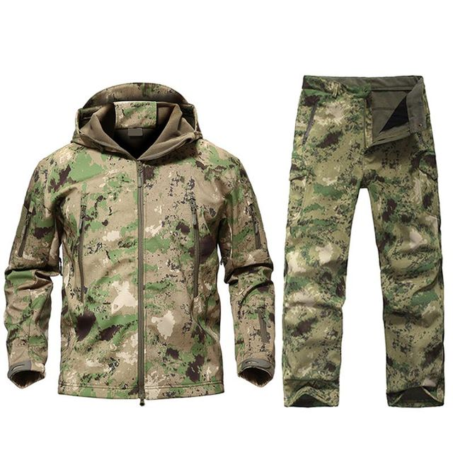 Outdoor Tactical Military Jacket Men TAD Softshell Fleece Camouflage Waterproof Jacket + Pants Camping Hiking Hunting Sport Suit