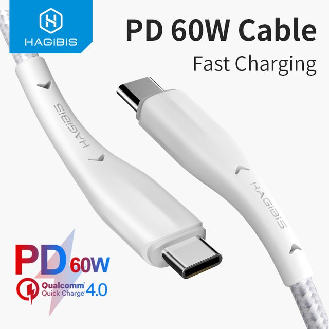 Hagibis USB C to USB Type-C Cable 60W PD Fast Charging Quick Charge 4.0 3.0 for Macbook Samsung S10 iPad Pro Google date cable