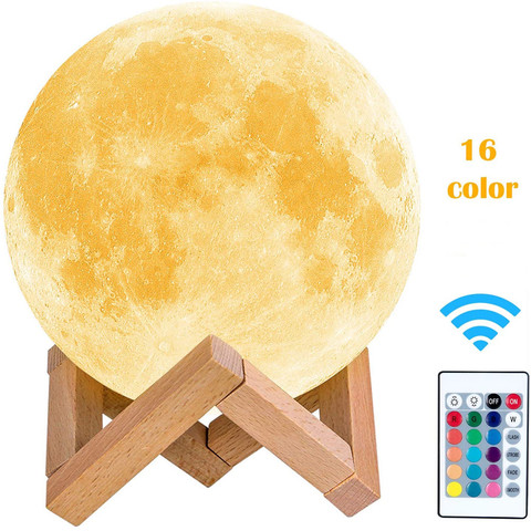3D Moon Lamp LED Lunar Night Light 3 Colours Change Xmas Gifts For Kids Bedroom