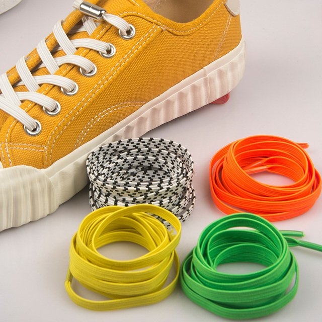 1Pair No Tie Shoelaces Flat Elastic Shoe Laces For Kids and Adult Sneakers Shoelace Quick and Easy Lazy Shoe Laces Strings 100cm