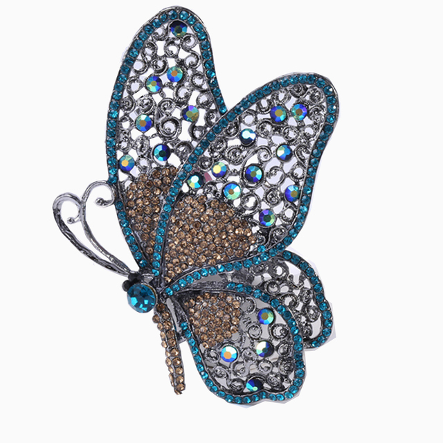Jewelery Brooch Gold Plated Rhinestone insect  Butterfly Shape Brooch Pin