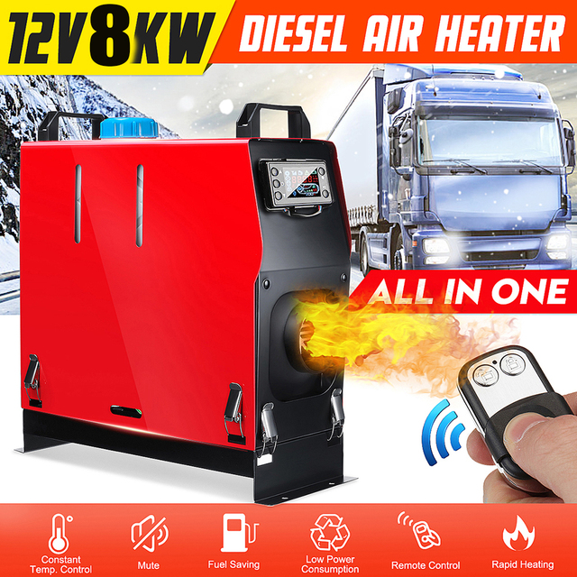 All In One Air diesels Heater 1KW-8KW Adjustable 12V One Hole Car Heater For Trucks Motor-Homes Boats Bus +LCD key Switch+Remot