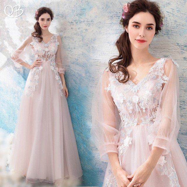 Pink A-line Tulle Lace Flower Evening Dresses with Sleeves 2020 New Fashion Long Formal Bride Party Prom Dress XK36M