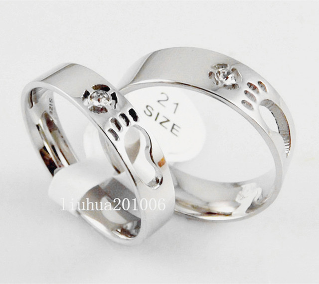Wholesale 12 pcs High Polished Comfort Fit Footprint pattern Stainless Steel Band CZ Fashion Lovers Rings FREE SHIPPING