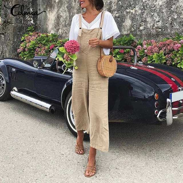 Celmia Women Sleeveless Wide Leg Jumpsuits 2020 Summer Rompers Vintage Bib Dungarees Casual Solid Straps Plus Size Overalls 5XL